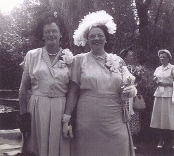 Bertha and Mrs. Keig dressed very nice with corsages