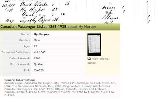 Canadian Passenger List for Hy Harper